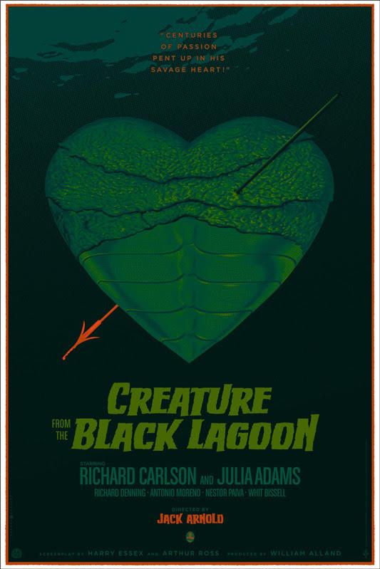 """「大アマゾンの半魚人」Creature From The Black Lagoon  Poster by Laurent Durieux. 24""""x36"""" screen print. Hand numbered. Edition of 275.  Printed by D&L Screenprinting. US$60"""