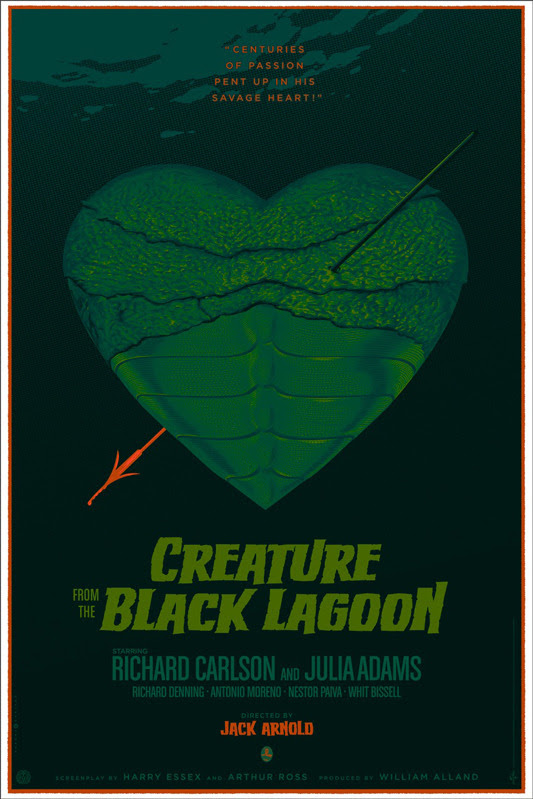 "「大アマゾンの半魚人」Creature From The Black Lagoon  Poster by Laurent Durieux. 24""x36"" screen print. Hand numbered. Edition of 275.  Printed by D&L Screenprinting. US$60"