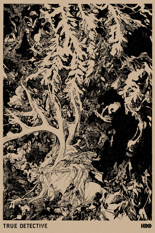 """「True Detective 」 Brown Color Way Poster by Vania Zouravliov.  24""""x36"""" screen print.  Hand numbered. Edition of 170.  Printed by Monolith Press.  US$50"""