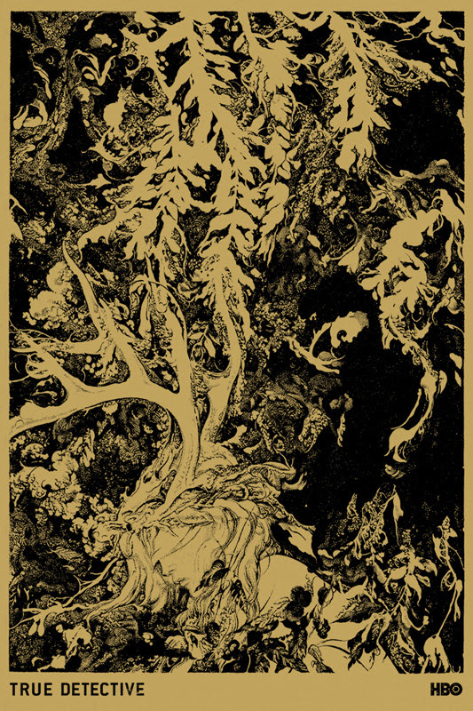 """「True Detective 」 Green Color Way Poster by Vania Zouravliov.  24""""x36"""" screen print.  Hand numbered. Edition of 170.  Printed by Monolith Press.  US$50"""