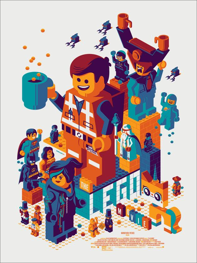 "「THE LEGO MOVIE」 Poster by Tom Whalen.  18""x24"" screen print. Hand numbered. Edition of 475.  Printed by D&L Screenprinting.  US$45"