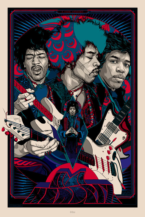 Jimi Hendrix  Reguler Poster by Tyler Stout. 24″ x 36″ screenprint. editon of 600 US$65