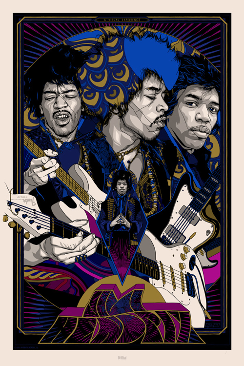 Jimi Hendrix  Variant Poster by Tyler Stout. 24″ x 36″ screenprint. editon of 200 US0