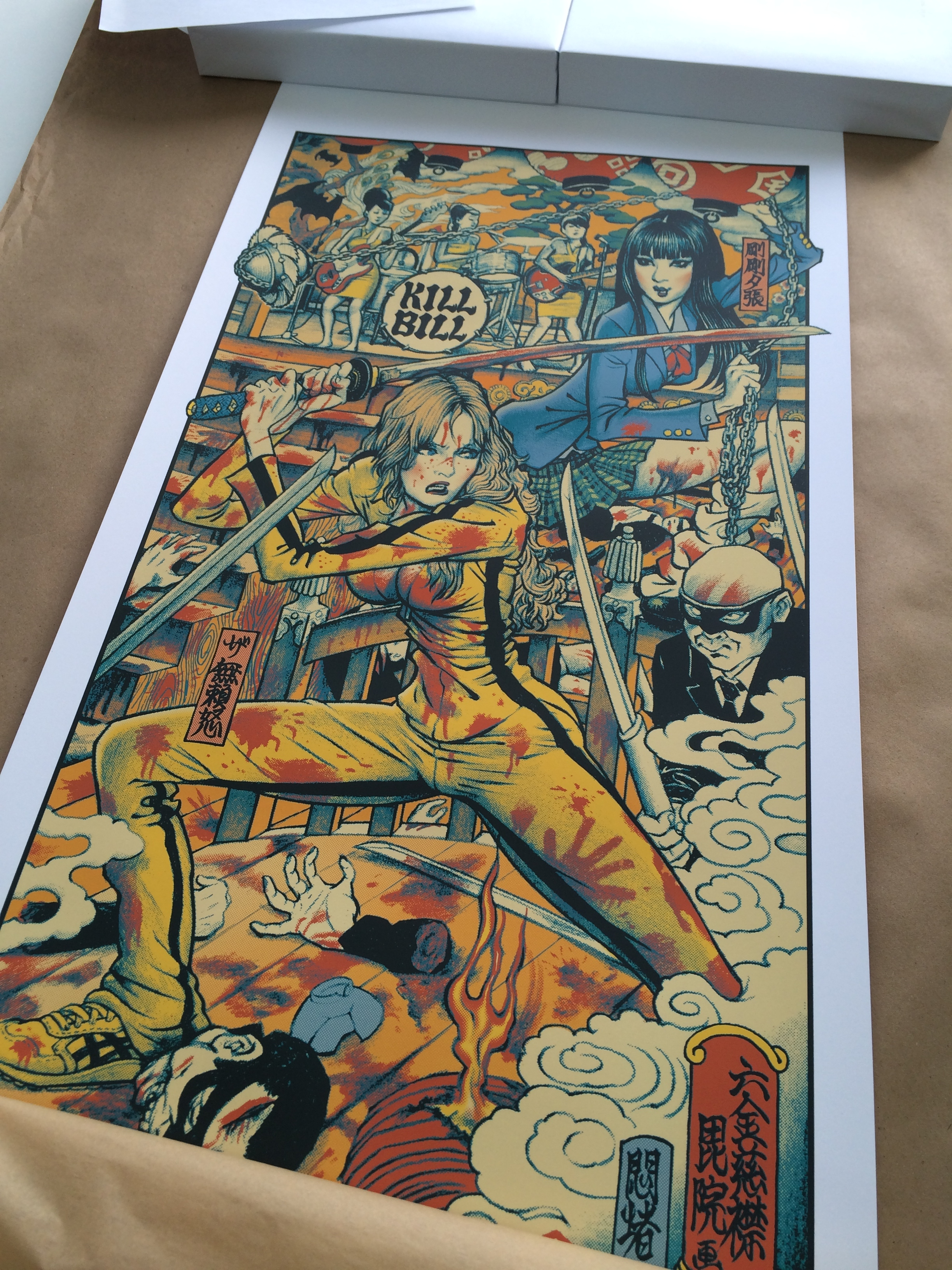 「キルビル」KILL BILL Poster by Rockin' Jelly Bean. 18″x36″ screen print. Hand numbered. Edition of 520. Printed by D&L Screenprinting.
