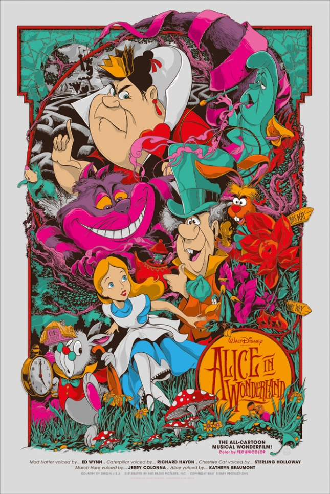 「ふしぎの国のアリス」 Disney's Alice in Wonderland Poster by Ken Taylor 24″ x 36″ Edition of 490 US$55