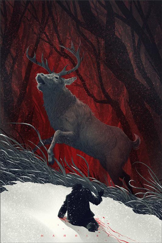 「ハンニバル」 Hannibal Poster by Kevin Tong. 36″x24″ screen print. Hand numbered. Edition of 275. Printed by D&L Screenprinting. US$45