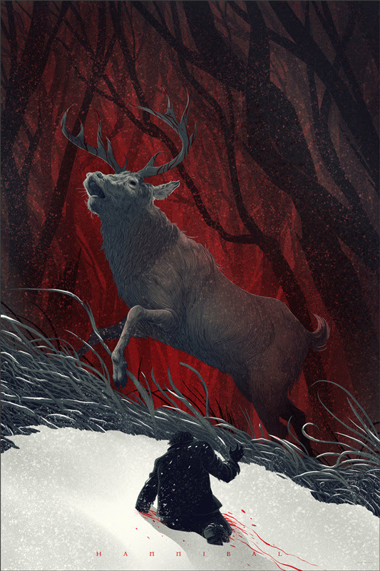 「ハンニバル」 Hannibal Poster by Kevin Tong. 36″x24″ screen print. Hand numbered. Edition of 275. Printed by D&L Screenprinting. US$45
