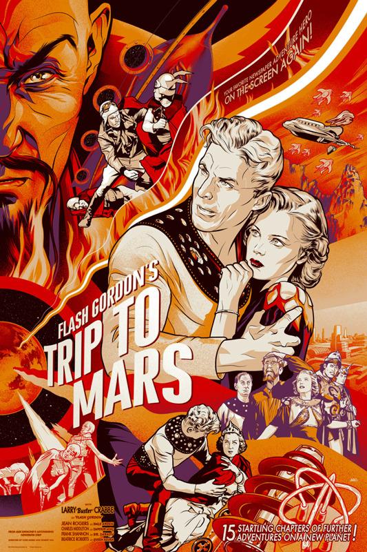 """「フラッシュ・ゴードンの火星旅行 」Flash Poster by Martin Ansin.  24""""x36"""" screen print. Hand numbered.  Edition of 375.  Printed by D&L Screenprinting.  US$50"""