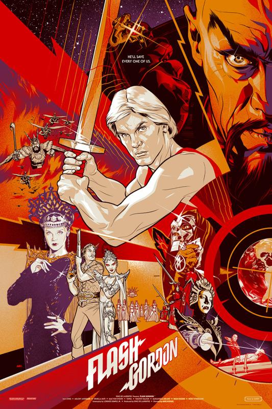 """「フラッシュ・ゴードン」Flash Gordon  Regular Poster by Martin Ansin.  24""""x36"""" screen print. Hand numbered.  Edition of 375.  Printed by D&L Screenprinting.  US$50"""