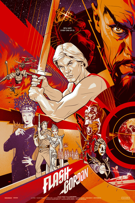 "「フラッシュ・ゴードン」Flash Gordon  Regular Poster by Martin Ansin.  24""x36"" screen print. Hand numbered.  Edition of 375.  Printed by D&L Screenprinting.  US$50"