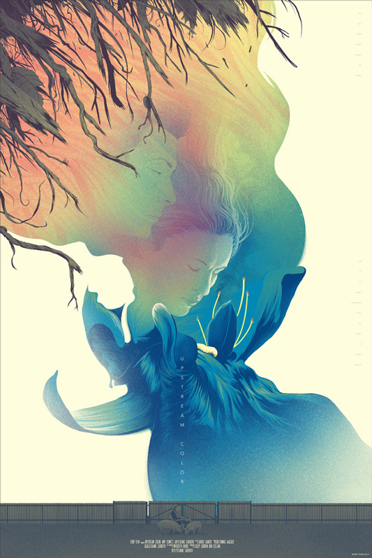 "Upstream Color Poster by Kevin Tong.  24""x36"" screen print. Hand numbered.  Edition of 215.  Printed by D&L Screenprinting.  US"