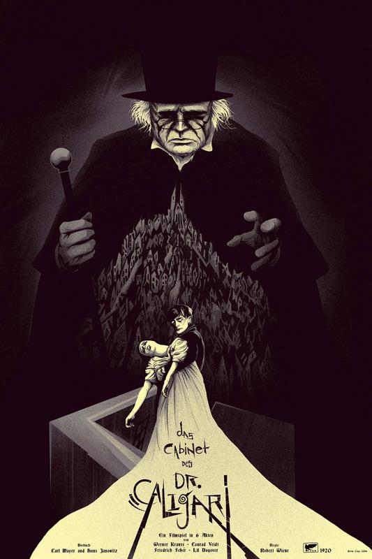 """「カリガリ博士」レギュラー The Cabinet of Dr. Caligari  Regular Poster by Kevin Tong.  24""""x36"""" screen print. Hand numbered. Edition of 300.  Printed by D&L Screenprinting.  US$45"""
