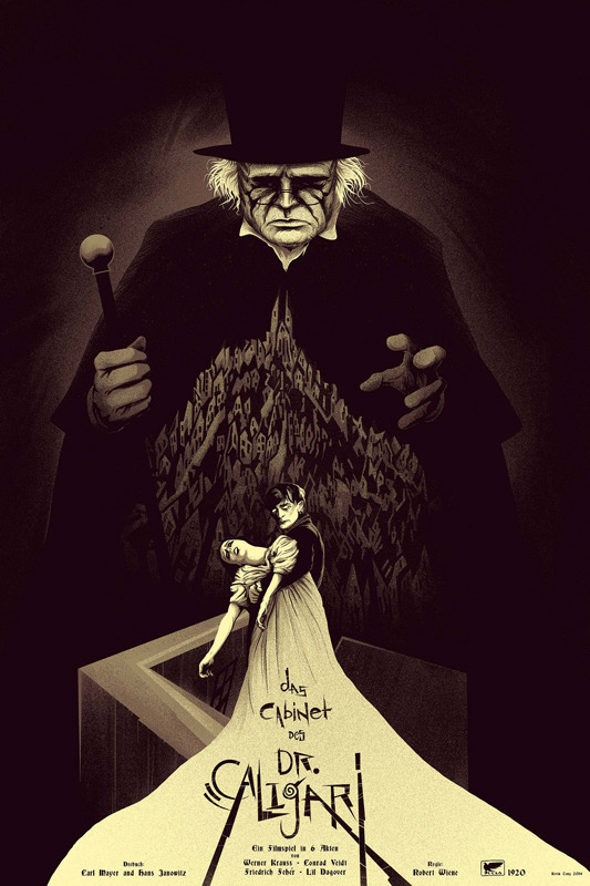 "「カリガリ博士」バリアント The Cabinet of Dr. Caligari  Variant Poster by Kevin Tong.  24""x36"" screen print. Hand numbered. Edition of 150.  Printed by D&L Screenprinting.  US$70"