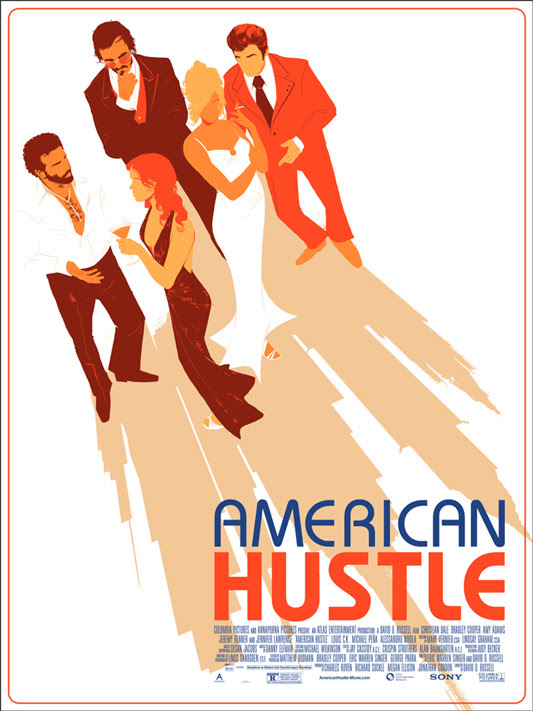 "「アメリカン・ハッスル」 American Hustle Poster by Matt Taylor.  18"" x 24"" screen print. Hand numbered. Edition of 325. Printed by D&L Screenprinting.  US$45"