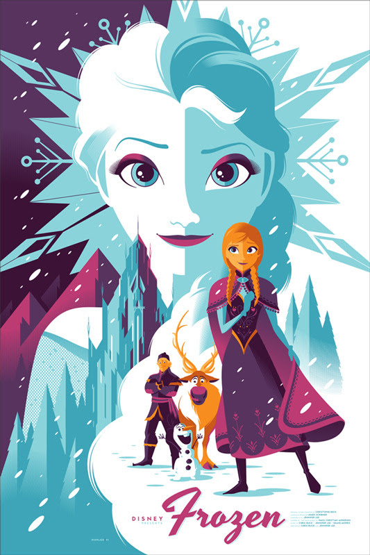"「アナと雪の女王」 Frozen Poster by Tom Whalen.  24"" x 36"" screen print. Hand numbered. Edition of 440. Printed by D&L Screenprinting.  US$50"