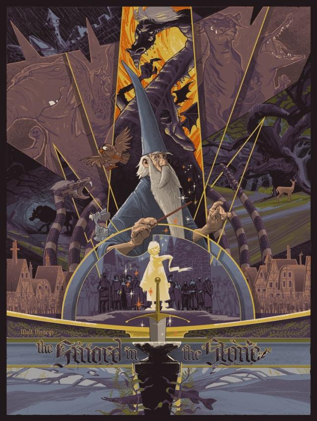 """「王様の剣」The Sword in the Stone Poster By Rich Kelly 6 color screenprint on French Dur-0-Tone Newsprint Aged paper. 18""""x 24""""  Signed not numbered (per the contract.)  US$95"""