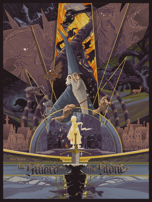 "「王様の剣」The Sword in the Stone Poster By Rich Kelly 6 color screenprint on French Dur-0-Tone Newsprint Aged paper. 18""x 24""  Signed not numbered (per the contract.)  US$95"