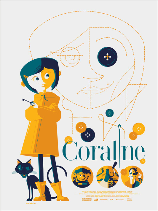 "「コラライン」 CORALINE Poster by Tom Whalen.  18""x24"" screen print. Hand numbered. Edition of 275.  Printed by D&L Screenprinting.  US$45"
