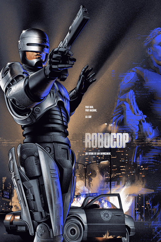 "「ロボコップ」バリアント ROBOCOP Variant Poster by Martin Ansin.  24""x36"" screen print. Hand numbered.  Edition of 250.  Printed by D&L Screenprinting.  US$75"