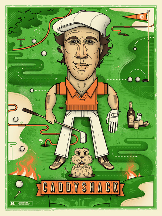 "「ボールズ・ボールズ」 Caddyshack Poster by Graham Erwin.  18""x24"" screen print. Hand numbered. Edition of 275.  Printed by D&L Screenprinting.  US$45"