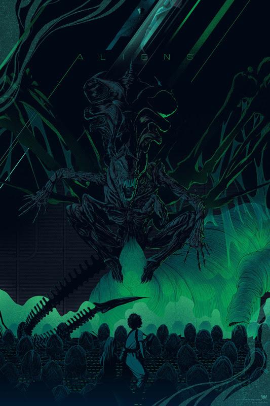 """「エイリアン2」レギュラー ALIENS Regular Poster by Kevin Tong.  24""""x36"""" screen print. Hand numbered.  Edition of 375.  Printed by D&L Screenprinting.  US$45"""