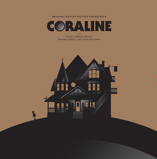 「コラライン」オリジナルサウンドトラック盤 CORALINE Original motion picture soundtrack.  Music by Bruno Coulais.  Artwork packaging by Michael DePippo. Pressed on 180 Gram Black vinyl with randomly-inserted Black & White swirl vinyl.  US$32