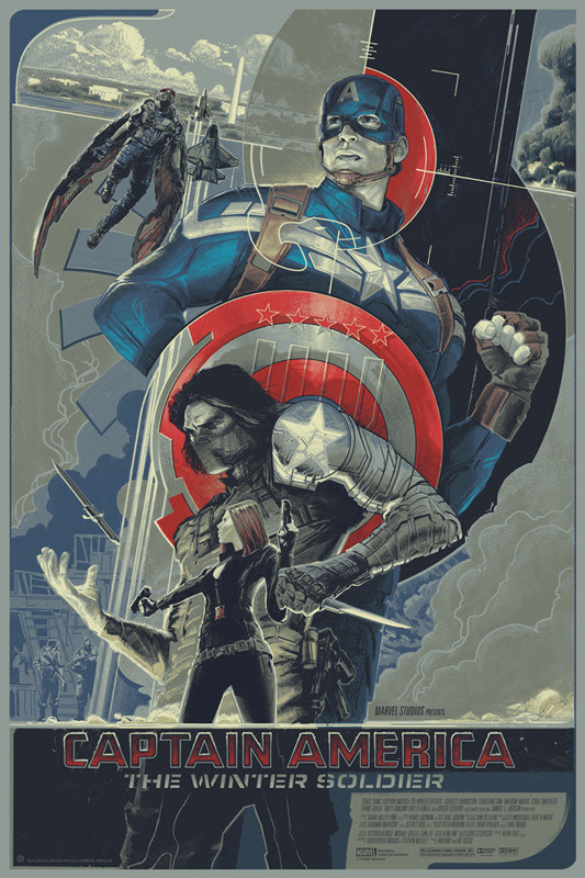 "「キャプテン・アメリカ ウィンターソルジャー」レギュラー  CAPTAIN AMERICA: THE WINTER SOLDIER Regular Poster by Rich Kelly.  24""x36"" screen print. Hand numbered. Edition of 435.  Printed by D&L Screenprinting.  US$45"