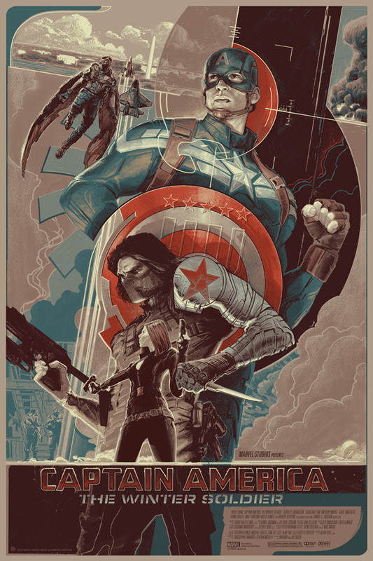 "「キャプテン・アメリカ ウィンターソルジャー」バリアント  CAPTAIN AMERICA: THE WINTER SOLDIER Variant Poster by Rich Kelly.  24""x36"" screen print. Hand numbered. Edition of 225.  Printed by D&L Screenprinting.  US$70"