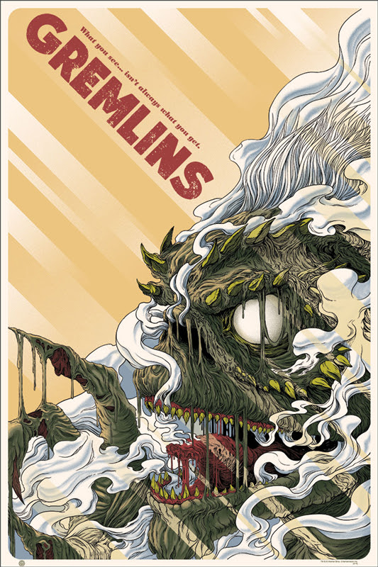 "「グレムリン」 Gremlins Poster by Randy Ortiz.  24""x36"" screen print. Hand numbered. Edition of 290.  Printed by D&L Screenprinting.  US$45"
