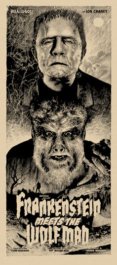 "「フランケンシュタインと狼男」レギュラー Frankenstein Meets the Wolf Man Regular Poster by Elvisdead.  16""x36"" screen print.  Hand numbered. Glow in the Dark ink.  Edition of 225.  Printed by D&L Screenprinting.  US$40"
