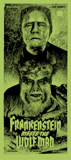 "「フランケンシュタインと狼男」バリアント Frankenstein Meets the Wolf Man Variant Poster by Elvisdead.  16""x36"" screen print.  Hand numbered. Glow in the Dark ink.  Edition of 100.  Printed by D&L Screenprinting.  US$60"