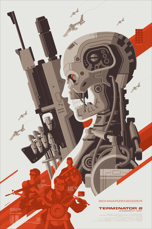 "「ターミネーター2」Terminator 2  Judgment Day Poster by Tom Whalen.  24""x36"" screen print.  Hand numbered. Edition of 425.  Printed by D&L Screenprinting.  US$50"