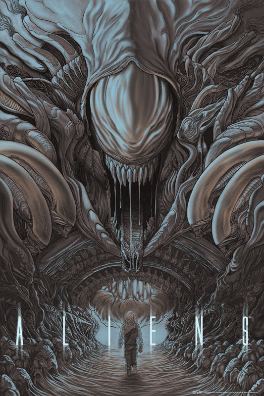 "「エイリアン2」Aliens Poster by Randy Ortiz.  24""x36"" screen print.  Hand numbered. Edition of 350.  Printed by D&L Screenprinting.  US$50"