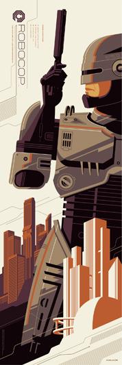 """「ロボコップ」 Robocop Poster by Tom Whalen.  12""""x36"""" screen print. Hand numbered. Edition of 300.  Printed by D&L Screenprinting.  US$45"""