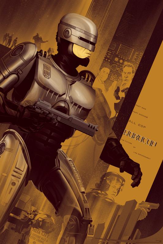 """「ロボコップ」バリアント Robocop Variant Poster by Kevin Tong.  24""""x36"""" screen print. Hand numbered. Edition of 150.  Printed by D&L Screenprinting.  US$65"""