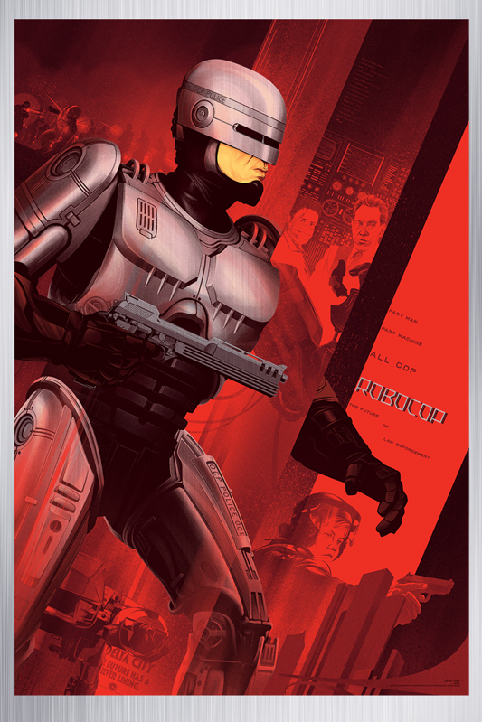 "「ロボコップ」メタルバリアント Robocop Metal Variant Poster by Kevin Tong.  24""x36"" screen print on metal.  Hand numbered. Edition of 35.  Printed by D&L Screenprinting.  US$300"