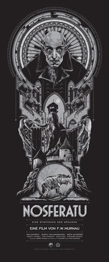"""「吸血鬼ノスフェラトゥ」 Nosferatu Poster by Ken Taylor.  15""""x36"""" screen print. Hand numbered. Signed by Ken Taylor.  Edition of 375.  Printed by D&L Screenprinting.  US$50"""