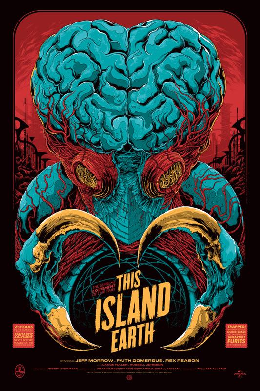 """「宇宙水爆戦」レギュラー THIS ISLAND EARTH Regular Poster by Ken Taylor.  24""""x36"""" screen print. Hand numbered.  Signed by Ken Taylor.  Edition of 325. Printed by D&L Screenprinting.  US$50"""