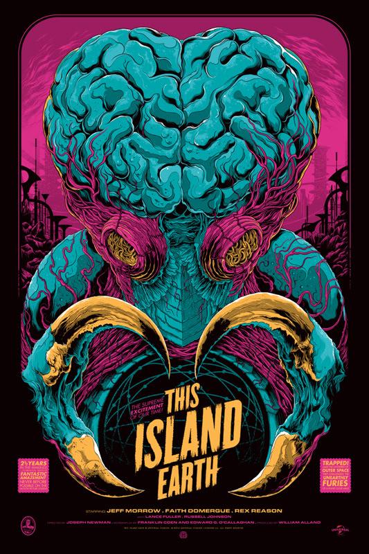 """「宇宙水爆戦」バリアント THIS ISLAND EARTH Variant Poster by Ken Taylor.  24""""x36"""" screen print. Hand numbered.  Signed by Ken Taylor.  Edition of 150. Printed by D&L Screenprinting.  US$75"""