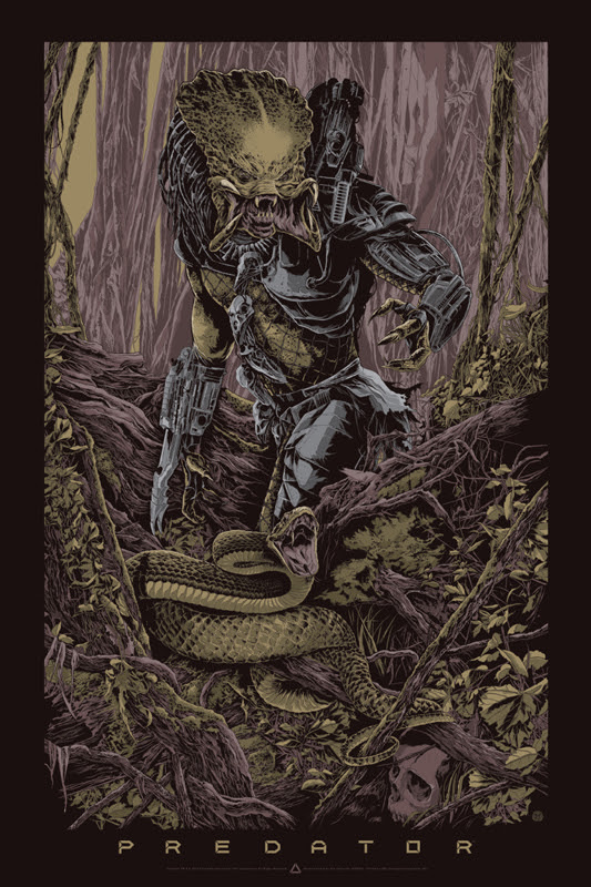 "「プレデター」レギュラー PREDATOR Regular Poster by Ken Taylor.  24""x36"" screen print. Hand numbered.  Signed by Ken Taylor.  Edition of 400. Printed by D&L Screenprinting.  US$60"