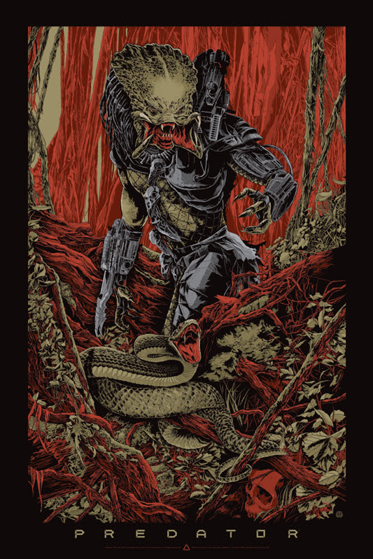 "「プレデター」バリアント PREDATOR Variant Poster by Ken Taylor.  24""x36"" screen print. Hand numbered.  Signed by Ken Taylor.  Edition of 400. Printed by D&L Screenprinting.  US$60"