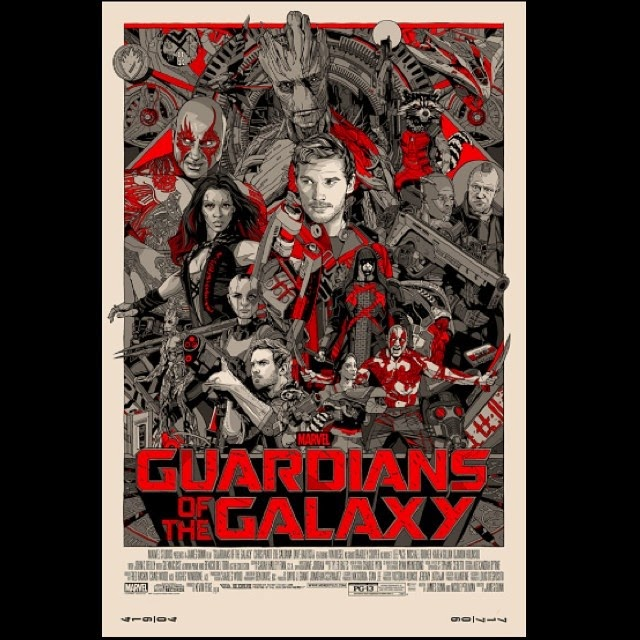 "「ガーディアンズ・オブ・ザ・ギャラクシー」バリアント Guardians of the Galaxy Variant  Poster by Tyler Stout  24"" x 36""  Edition of 350 $110"