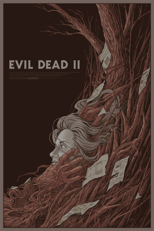"「死霊のはらわたII」 EVIL DEAD 2 Regular Poster by Randy Ortiz.  24""x36"" screen print. Hand numbered. Edition of 225.  Printed by D&L Screenprinting.  US$45"