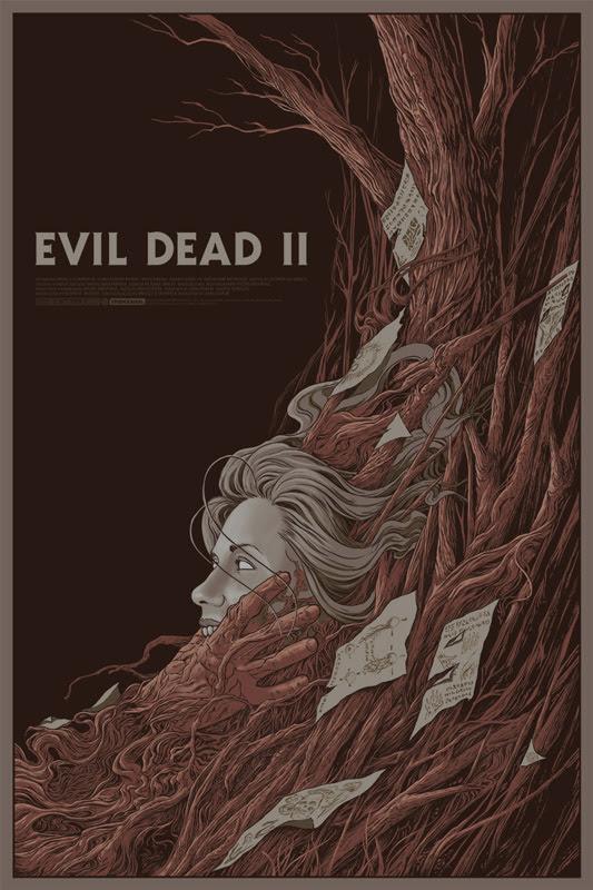 """「死霊のはらわたII」 EVIL DEAD 2 Regular Poster by Randy Ortiz.  24""""x36"""" screen print. Hand numbered. Edition of 225.  Printed by D&L Screenprinting.  US$45"""