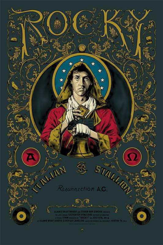 """「ロッキー」 ROCKY Poster by Cesar Moreno.  24""""x36"""" screen print.  Hand numbered. Edition of 150.  Printed by Lady Lazarus.  US$45"""