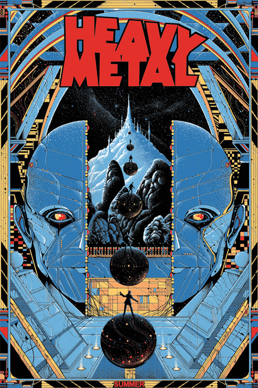 "「ヘビーメタル」 レギュラー HEAVY METAL Regular Poster by Kilian Eng.  24""x36"" screen print. Hand numbered. Edition of 290.  Printed by D&L Screenprinting.  U$50"