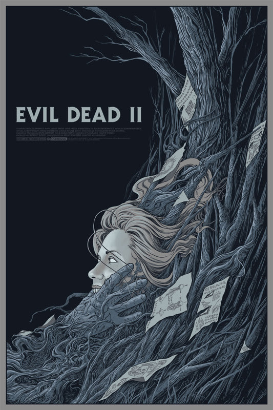 "「死霊のはらわたII」 EVIL DEAD 2 Variant Poster by Randy Ortiz.  24""x36"" screen print. Hand numbered. Edition of 100.  Printed by D&L Screenprinting.  US$65"