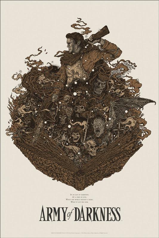 """「死霊のはらわたIII キャプテン・スーパーマーケット」 ARMY OF DARKNESS Regular Poster by Richey Beckett.  24""""x36"""" screen print. Hand numbered.  Edition of 275.  Printed by D&L Screenprinting.  US$45"""