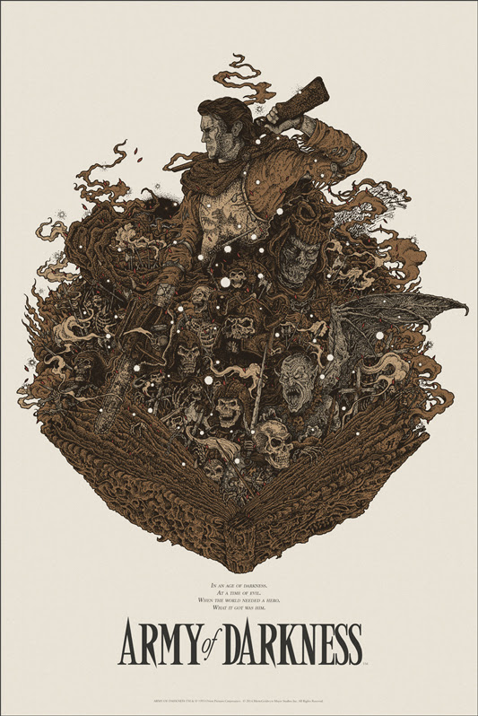 "「死霊のはらわたIII キャプテン・スーパーマーケット」 ARMY OF DARKNESS Regular Poster by Richey Beckett.  24""x36"" screen print. Hand numbered.  Edition of 275.  Printed by D&L Screenprinting.  US$45"