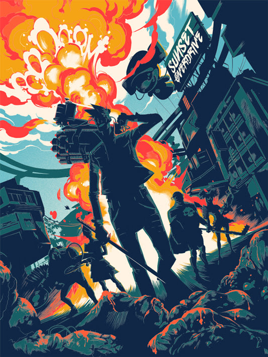 "SUNSET OVERDRIVE Poster by Matt Taylor.  18""x24"" screen print. Hand numbered. Edition of 175.  Printed by D&L Screenprinting.  US$40"
